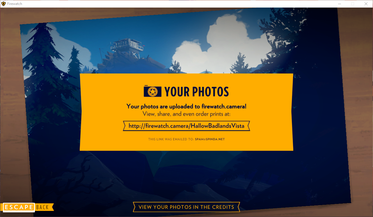 Firewatch photo upload screen